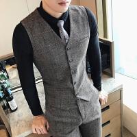 英伦潮流男士两件套秋新款韩版修身发型师夜店个性西装马甲套装男