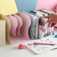 易星马卡龙色可伸缩书立架创意小学生用纯色单色书架书夹简易桌上折叠收纳拉伸书靠书挡板北欧伸缩式放书架子