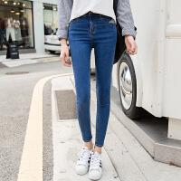 2017秋季新款韩版高腰小脚牛仔裤女弹力长裤学生紧身显瘦铅笔裤潮 深蓝色