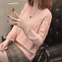 春装2018新款女韩版百搭宽松套头圆领女士蕾丝打底针织衫长袖毛衣