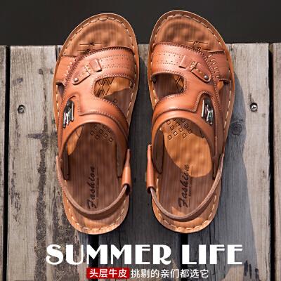 宜驰 EGCHI 凉鞋男士休闲夏季头层牛皮透气沙滩鞋11002