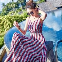 维绯新款条纹吊带显瘦性感雪纺连衣裙长裙波西米亚海边度假沙滩裙 图色