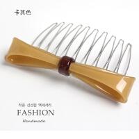 韩国发梳插梳发饰头饰卡子刘海梳盘发边夹发插蝴蝶结十齿