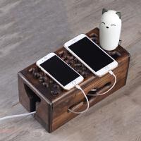 收纳盒木质镂空雕刻花纹大号方形电源线插线板家用桌面整理盒
