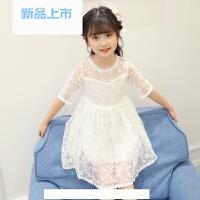 女童蕾丝公主裙夏季儿童连衣裙白色粉色半袖甜美仙中大童韩版裙子