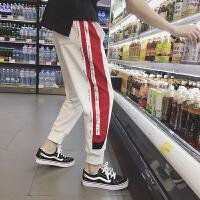春季新品运动束脚裤男士青年学生卫裤休闲裤哈伦裤撞色宽松长裤子
