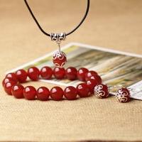 三件套红玛瑙手链耳坠吊坠女士款情侣水晶饰品