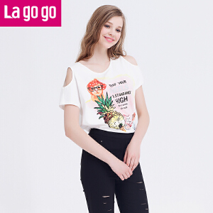 Lagogo拉谷谷短袖宽松漏肩上衣夏装新款潮印花白色前短后长t恤女