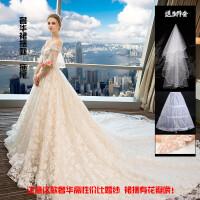 婚纱礼服新娘2018冬季一字肩新款拖尾公主新娘结婚森系超仙显瘦女