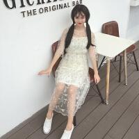 夏装女装韩版甜美小清新文艺刺绣花朵蕾丝网纱连衣裙两件套吊带裙