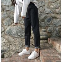 牛仔裤女裤子春秋新款韩版学生bf松紧腰显瘦黑色哈伦裤长裤潮