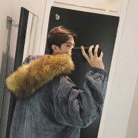 韩版冬季男士棉袄中长款棉衣情侣连帽大毛领潮流外套冬装袄子