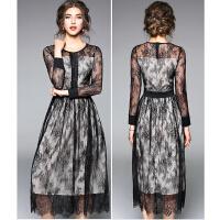 蕾丝连衣裙长袖女新款秋冬中长款内搭修身打底性感镂空大摆裙
