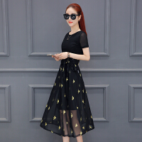 夏天ins超火的连衣裙女2018夏装新款韩版修身气质雪纺裙子两件套