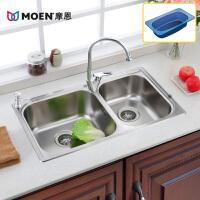 MOEN/摩恩 厨房304不锈钢双槽水槽套装 波顿23610MCL01