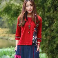 中国风女装春装复古民族风棉麻七分袖立体小球改良旗袍上衣女衬衫
