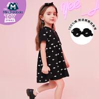 【2件3.8折】迷你巴拉巴拉女童裙子2019夏装新款童装小怪物印花儿童宽松连衣裙