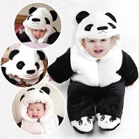 一岁宝宝冬装男加厚保暖新生儿连体衣秋冬季初生婴儿爬服动物造型