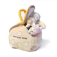 婴儿摇铃新生儿婴儿手握玩具布艺小房子摇铃BB棒组合套装 颜色如图