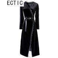 ECTIC 蕾丝连衣裙中长款金丝绒拼接连衣裙长袖春秋款打底裙v领修身显瘦 黑色 送腰带