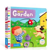 英文原版进口绘本Busy Garden 儿童玩具机关启蒙书图画 纸板书
