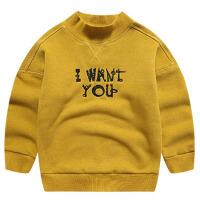 童装男童加绒卫衣冬装新款中大儿童半高领套头衫厚