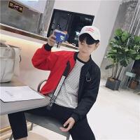 新款帅中性小码青少年秋装潮流拼接棒球服韩版修身S码矮个子外