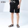 GXG短裤男装 夏装男士时尚气质都市潮流修身黑色休闲斯文卷边短裤