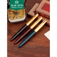 HERO英雄616钢笔怀旧经典金色帽黄尖铱金笔上海总厂出书写墨水笔