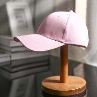 纯色粉色男女款棒球帽休闲百搭女士鸭舌帽夏季春秋天出游逛街白色