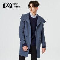 gxg.jeans男装秋冬新品青年时尚中长款羊毛连帽呢大衣厚64626212