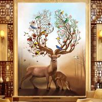 十字绣客厅新款大画动物系列名画聚财禄鹿满绣风景十字绣画
