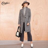 拉夏贝尔格子羊毛大衣女冬季新款韩版宽松英伦风外衣过膝中长呢子外套