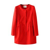 秋冬装女装新 简约风纯色单排扣中长毛呢外套女长袖