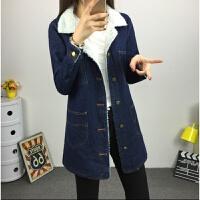 慈姑冬装新款韩版牛仔外套女中长款修身学生加绒加厚棉衣羊羔毛风衣潮