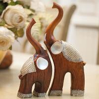 东南亚树脂情侣象对象工艺品客厅摆件家居饰品新房装饰品大象摆件 对象摆件