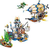 儿童启蒙积木拼装拼插骑士团模型飞鹰城堡飞船男孩玩具