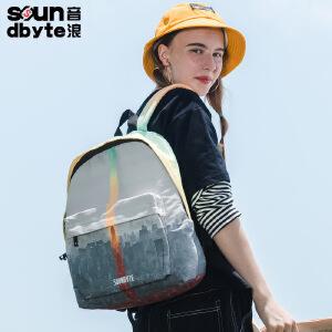 【支持礼品卡支付】soundbyte灰色城市印花双肩包女帆布休闲背包学院风电脑背包21235