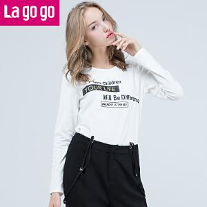 Lagogo新款黑色字母印花显瘦长袖T恤女外穿百搭港风薄款打底上衣