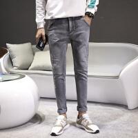 【保暖季大促满299减200】2018球季新款牛仔裤男修身显瘦时尚百搭小脚裤青少年学生黑色长裤