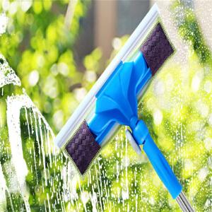 物有物语 擦玻璃工具 家居日用多功能清洁器不锈钢伸缩杆地板刮水拖把多方向旋转玻璃刮刷器清洁工具