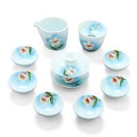 手绘功夫茶具套装家用简约百合花茶壶茶杯套装青瓷陶瓷茶具居家工艺品