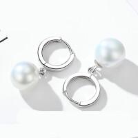 925银珍珠耳环女气质韩国个性简约百搭长款耳扣耳吊耳钉耳坠 【925银简约耳环一对】