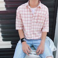 男士短袖�r衫2018新款夏季��松港�L休�e格子�r衣�n版潮流男生衣服