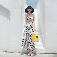 沙滩裙仙女新款海边度假亚长裙泰国旅游波点吊带连衣裙子 黑白波点