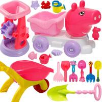 沙漏铲子工具决明子女孩 粉红小猪沙滩玩具套装儿童宝宝儿童玩沙挖