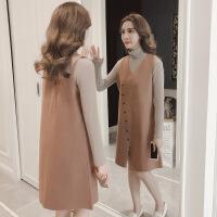 毛呢背心裙秋冬女2018新款韩版中长款套装裙打底马甲连衣裙两件套