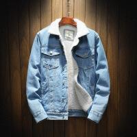 冬季加绒牛仔外套男士韩版修身羊羔毛牛仔棉衣加厚男装夹克潮