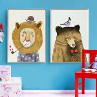 儿童房DIY砖石画卡通动物狮子大熊十字绣