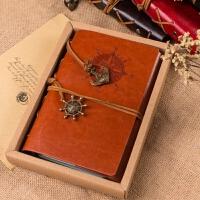 A5航海日记本活页牛皮纸本子A6欧式怀旧复古旅行笔记创意皮面本子